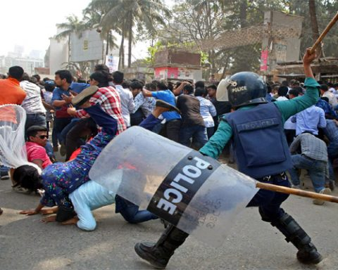 Dhaka Police Firing on Protesters 5 Killed