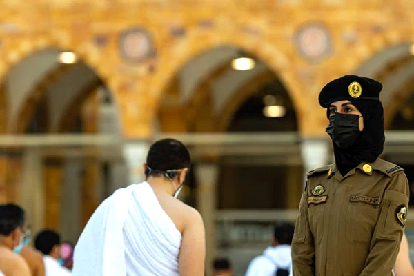 Female security personnel deployed in the courtyard of Masjid-ul-Haram